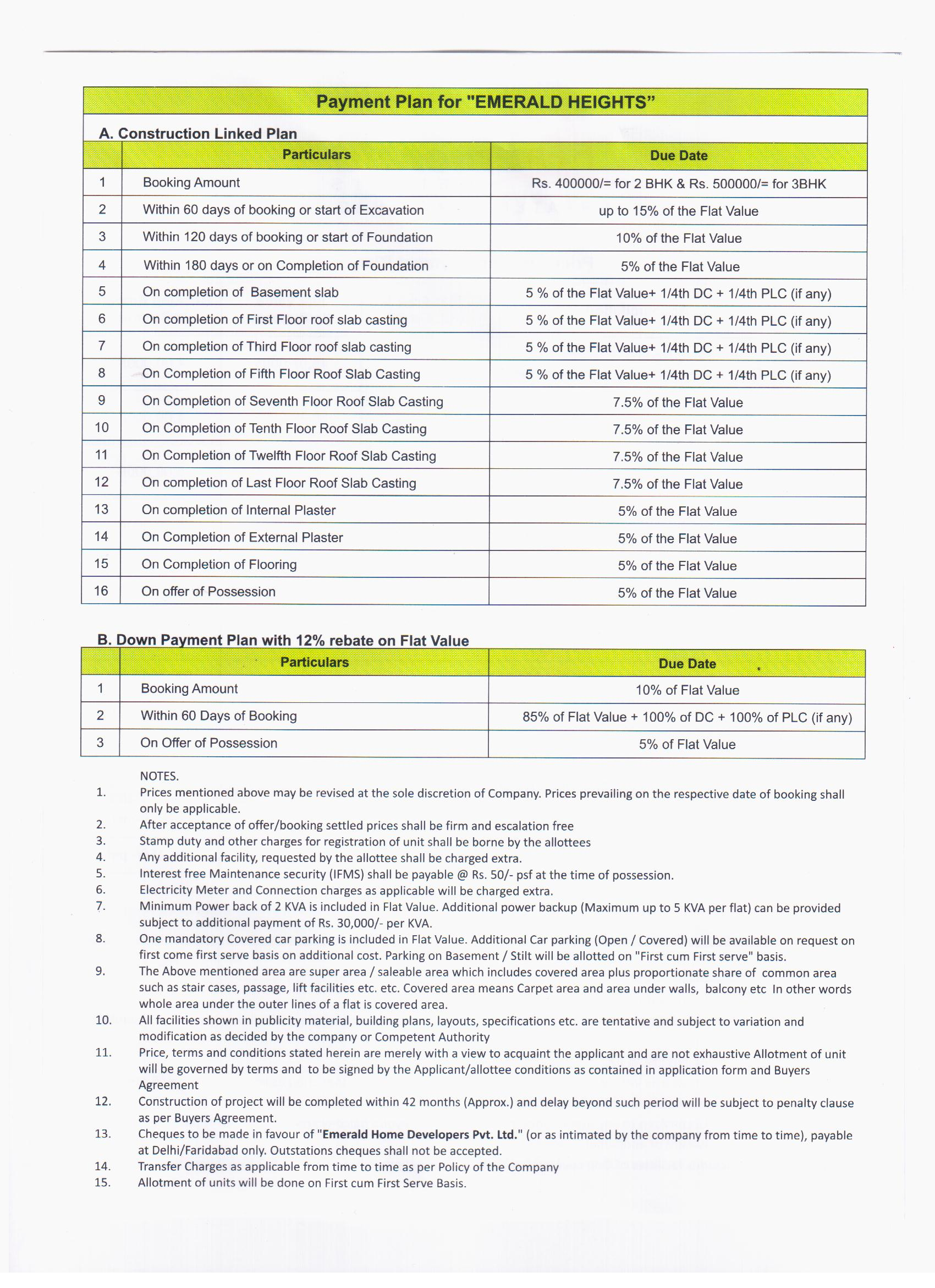 payment plan of  emerald heights faridabad
