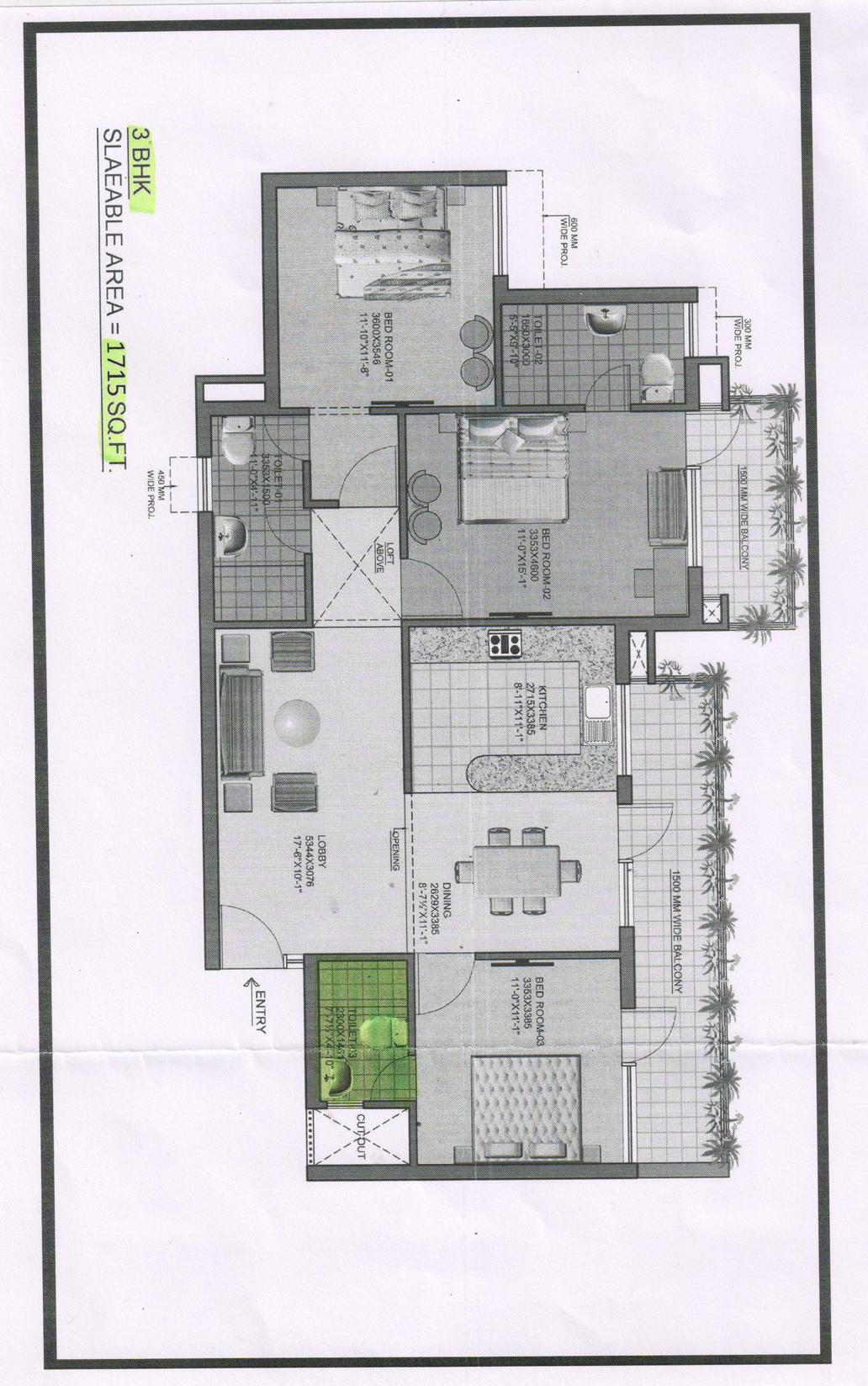Omaxe heights Floor Plan